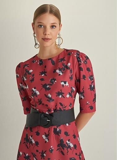NGSTYLE Dikiş Detaylı Midi Elbise Kırmızı